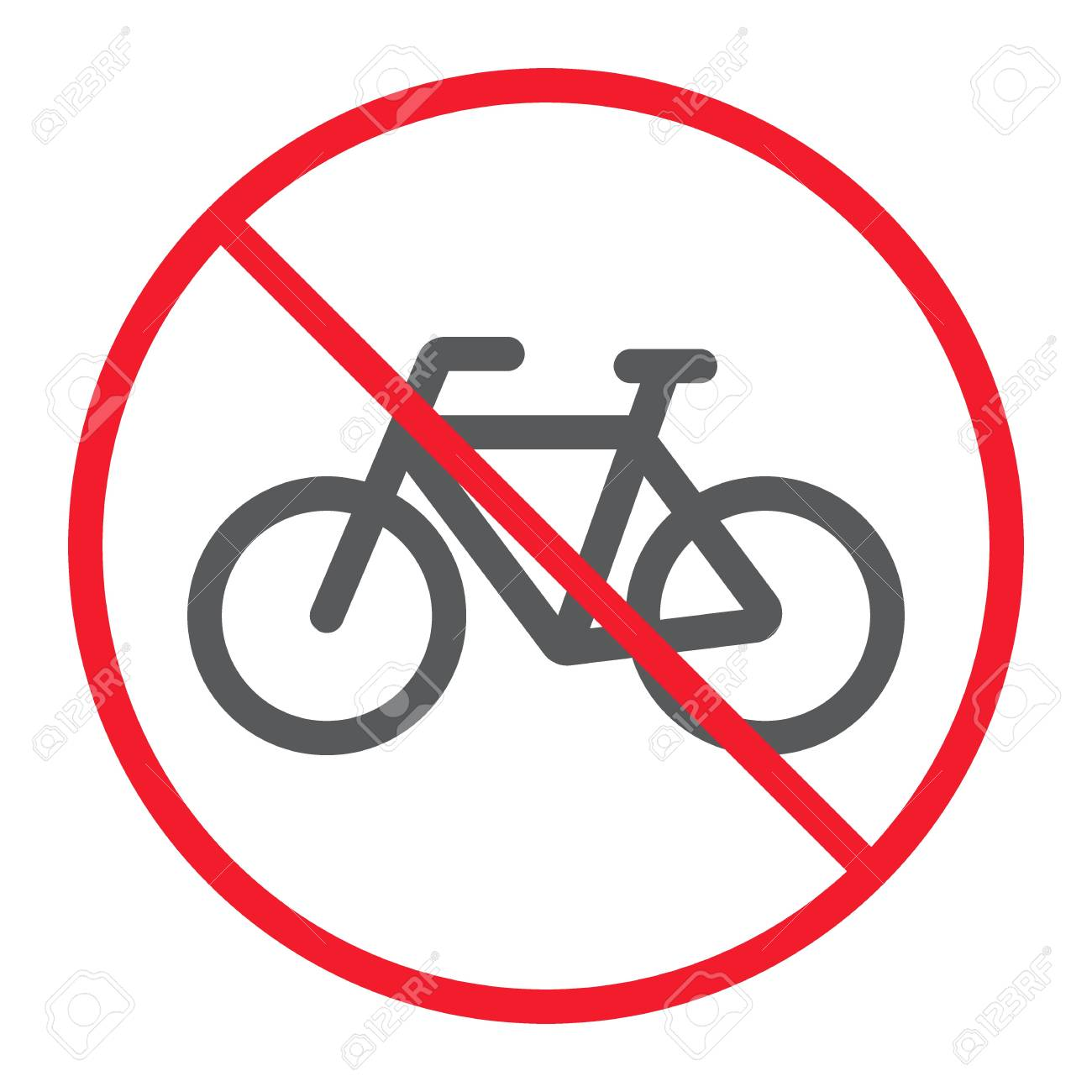 no bicycle line icon