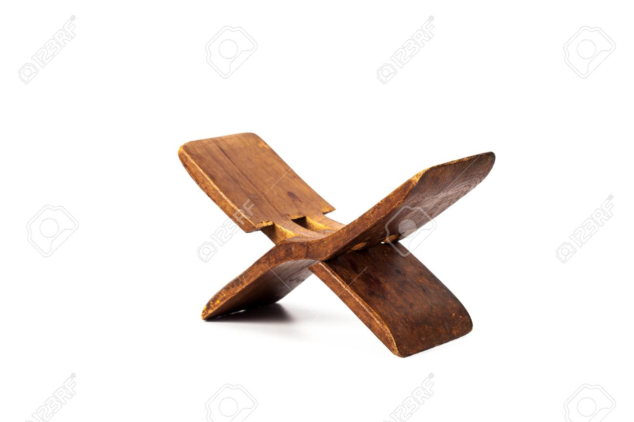 ancient wooden pillow made from old wood forsafety neck from