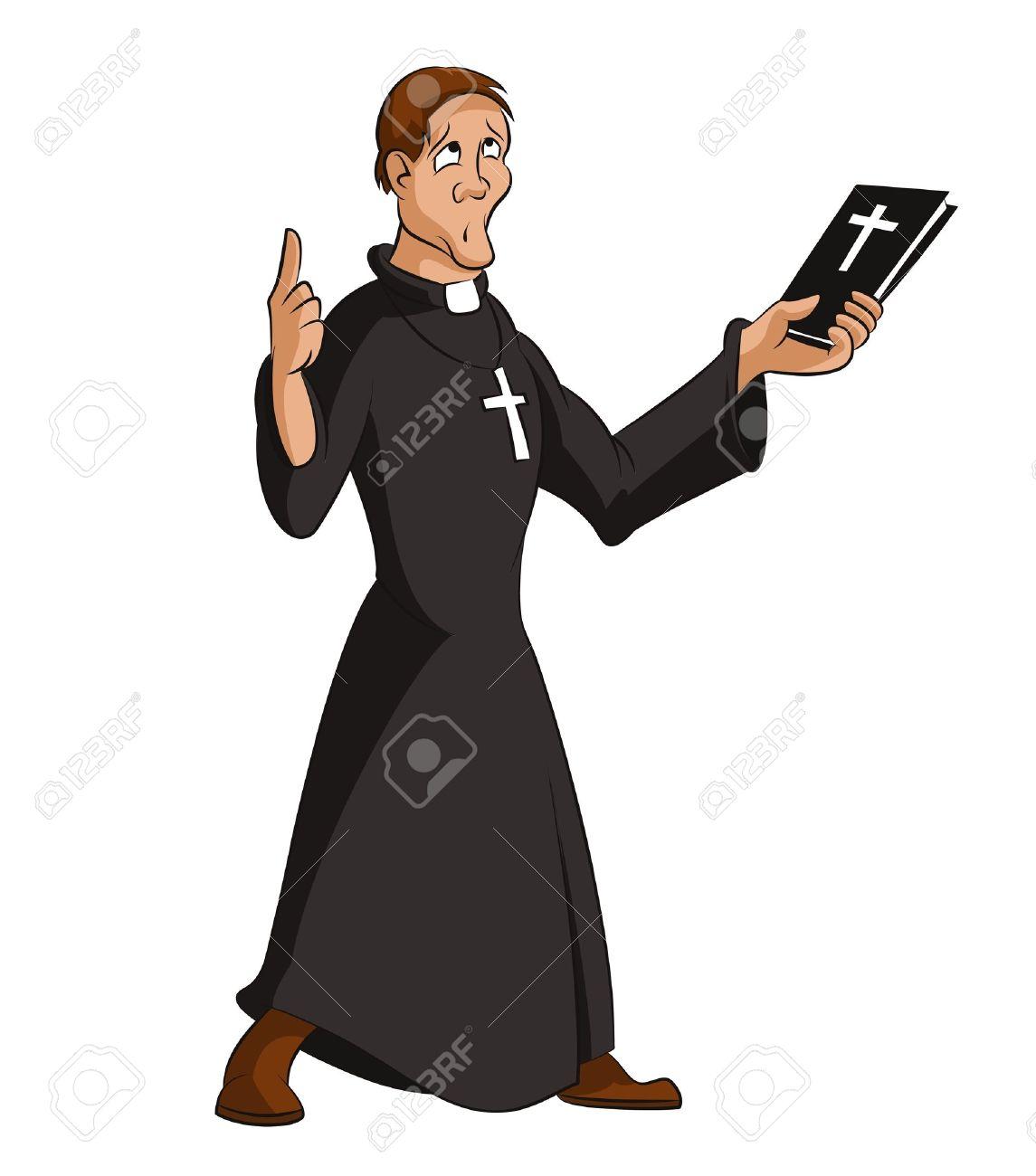hight resolution of image of funny cartoon smart priest