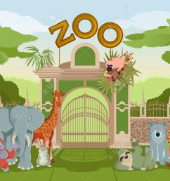 vector vector image of zoo gate with animals [ 1300 x 1022 Pixel ]