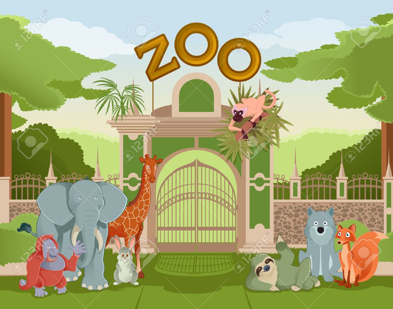 hight resolution of vector vector image of zoo gate with animals