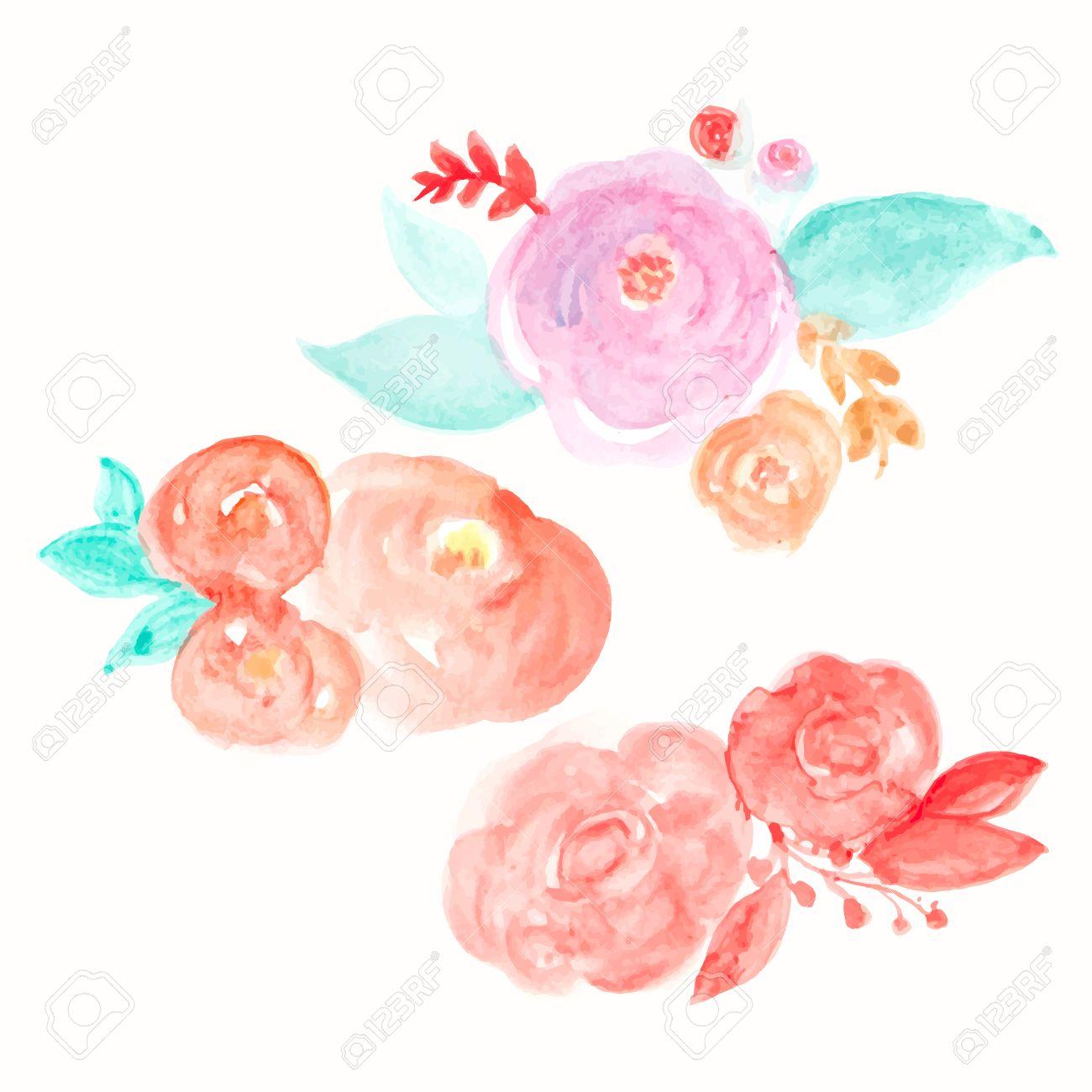 watercolor flower vector round