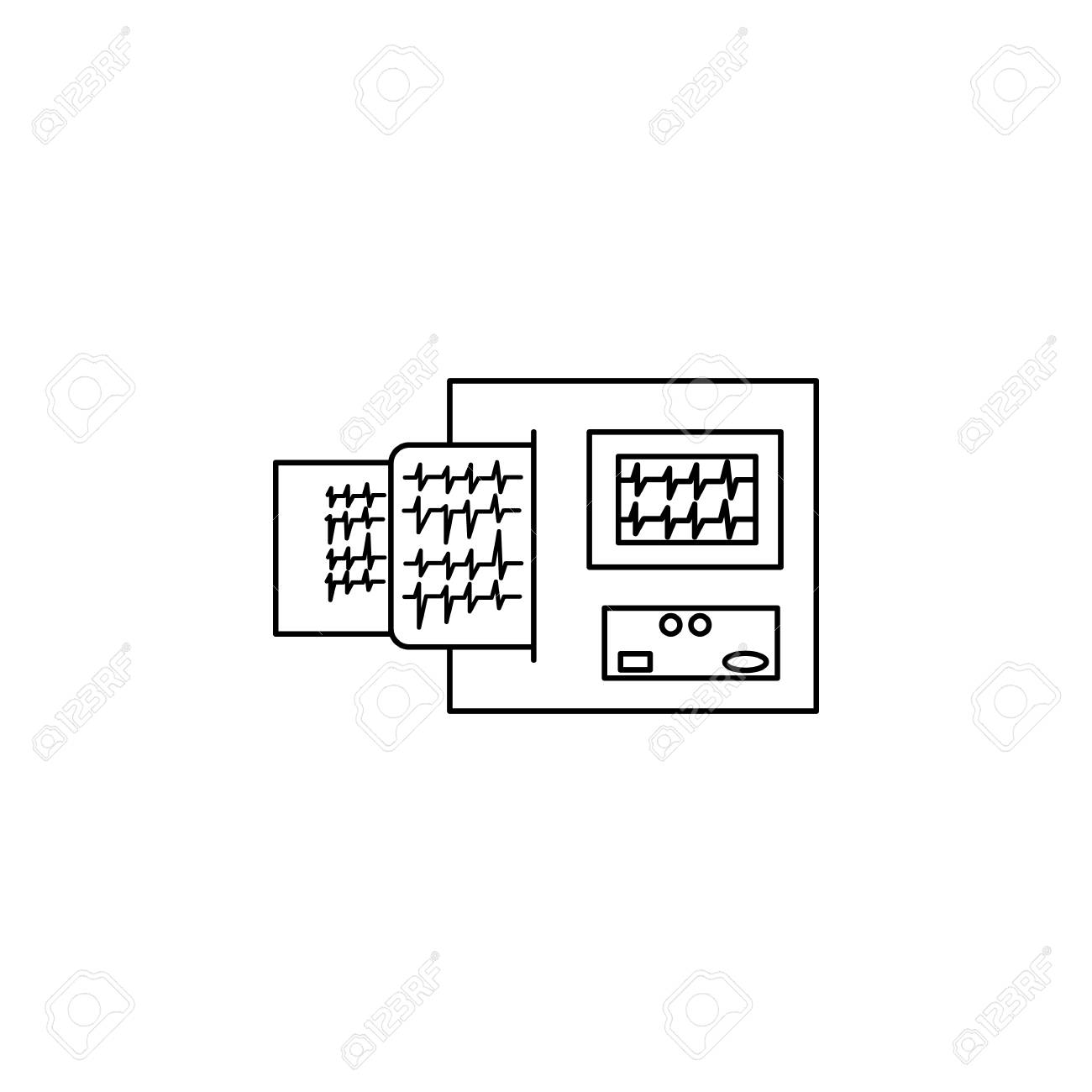 hight resolution of electrocardiogram device and heart pulse on list line icon element of medicine tools icon