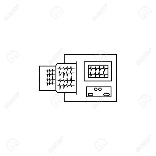 small resolution of electrocardiogram device and heart pulse on list line icon element of medicine tools icon