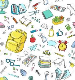 school clipart vector doodle school icons symbols back to school background sketch drawing hand white seamless [ 1300 x 1300 Pixel ]