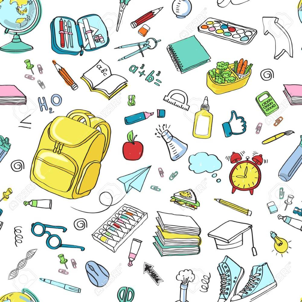 medium resolution of school clipart vector doodle school icons symbols back to school background sketch drawing hand white seamless