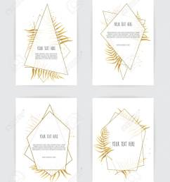 set of card with flower rose leaves and geometrical frame wedding ornament concept  [ 1081 x 1300 Pixel ]