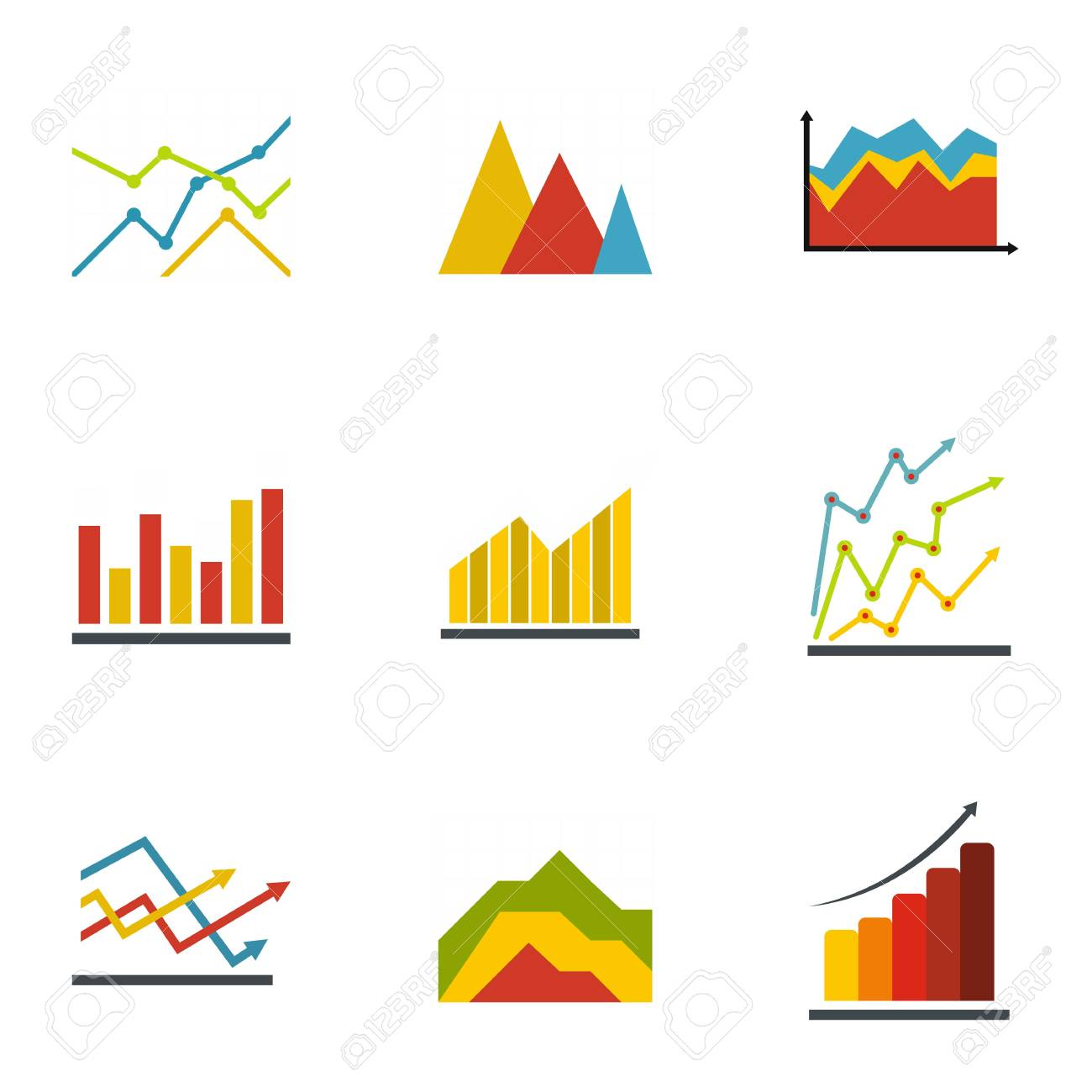 graph icons set flat