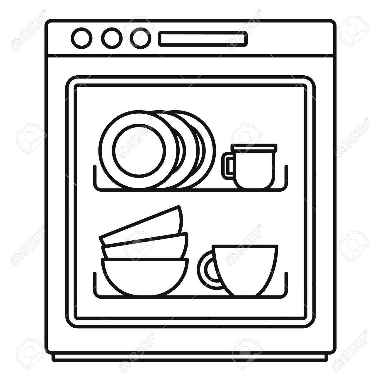 dishwasher icon outline illustration
