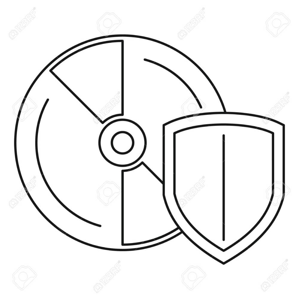 medium resolution of secured cd disk icon outline style stock photo 111468783