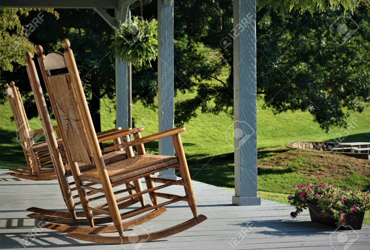 The Wooden Rocking Chair At The Terrace House With The Beautiful Stock Photo Picture And Royalty Free Image Image 105573740