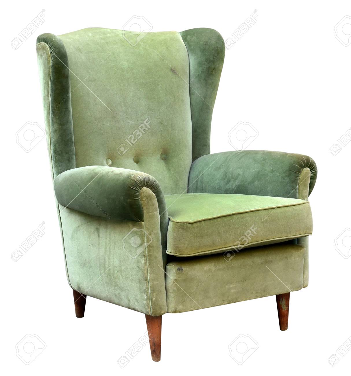 Green Upholstered Chair Vintage Upholstered Green Velvet Armchair With A High Wing Back