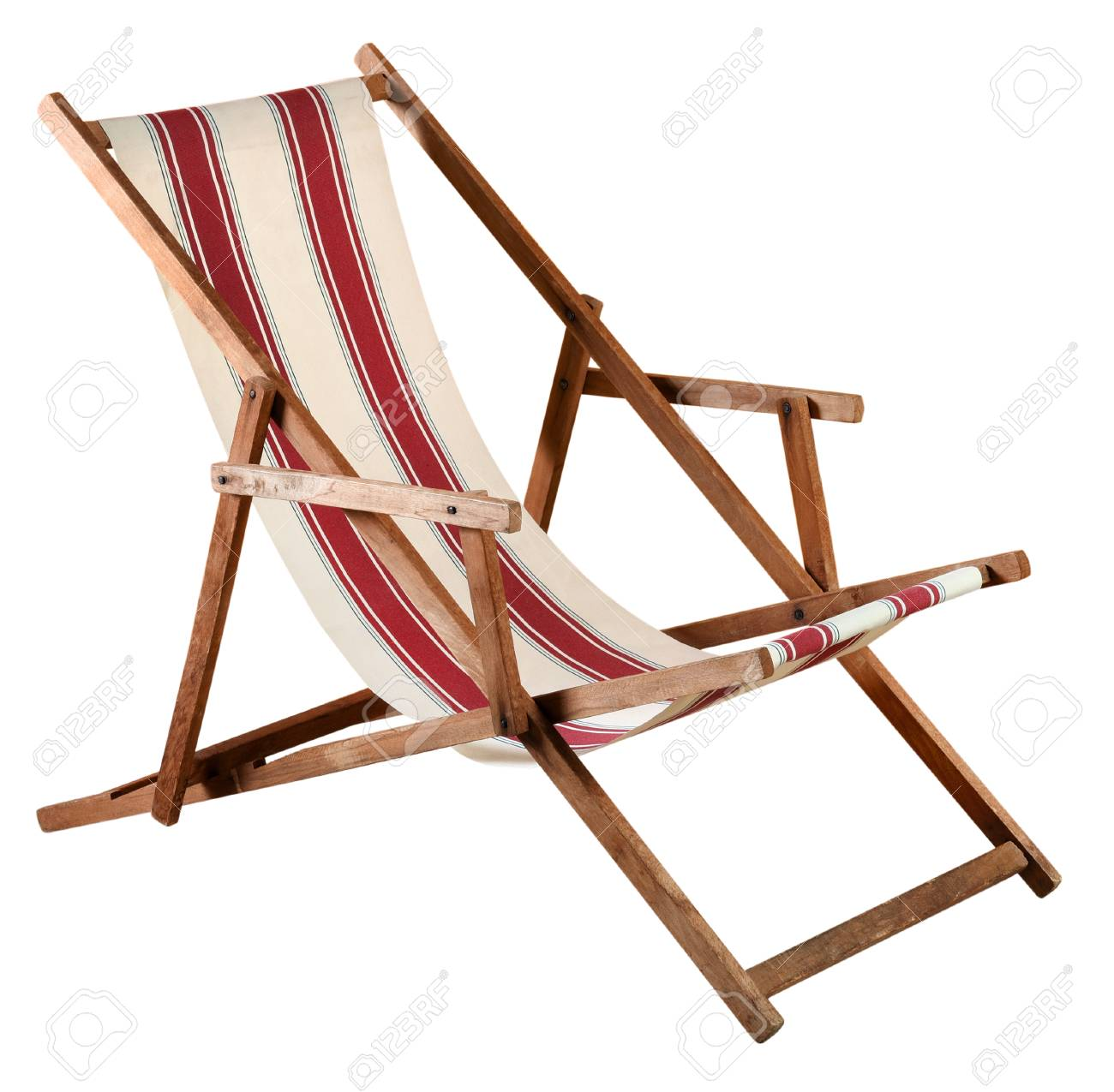 Folding Wood Beach Chair Folding Wooden Deckchair Or Beach Chair With Striped Red And