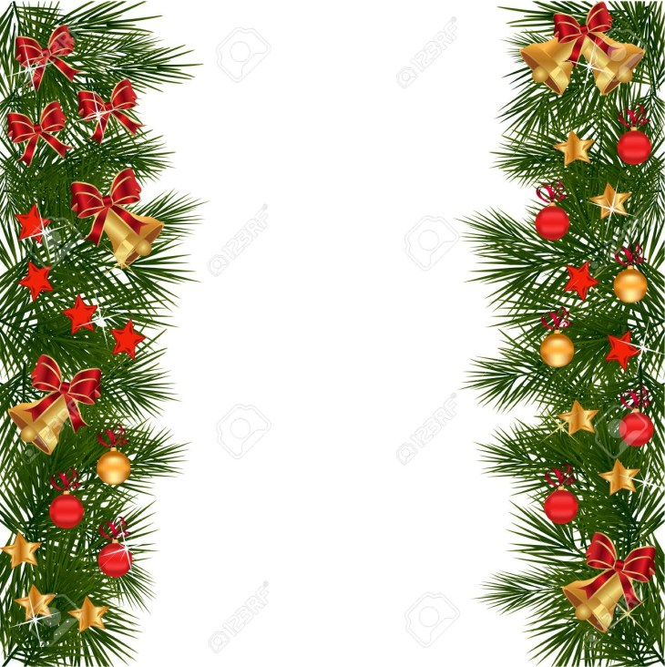 Christmas garland with decorations and green leaves over white background. Christmas holly set Holly Christmas