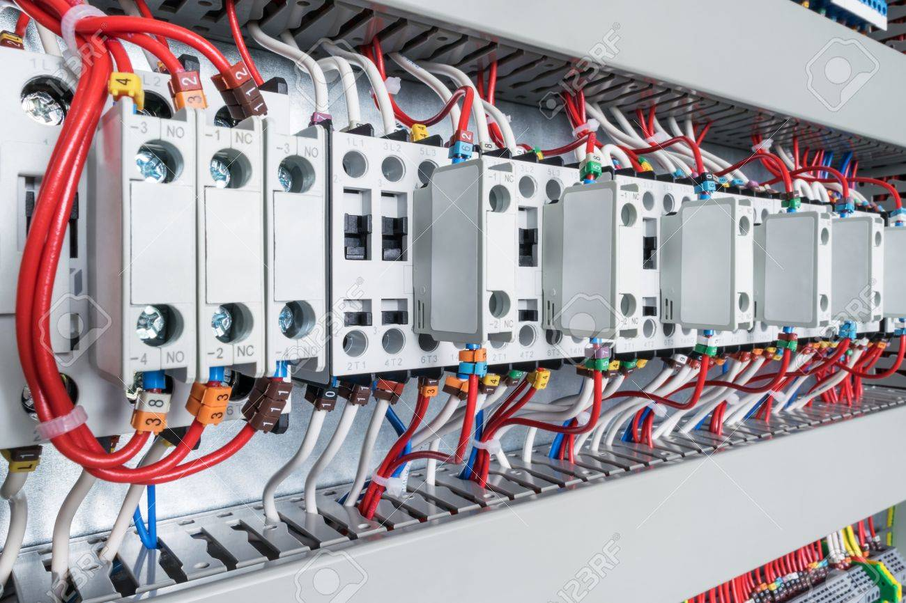 hight resolution of several contactors arranged in a row in an electrical closet the contactors connected wire number