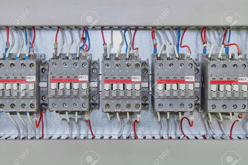 medium resolution of several electrical contactor on a mounting panel in electrical closet modern contactors to start motors