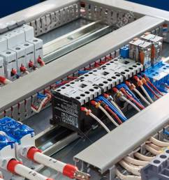 contactors relays circuit breakers and terminals in the electrical cabinet electrical wires or [ 1300 x 866 Pixel ]