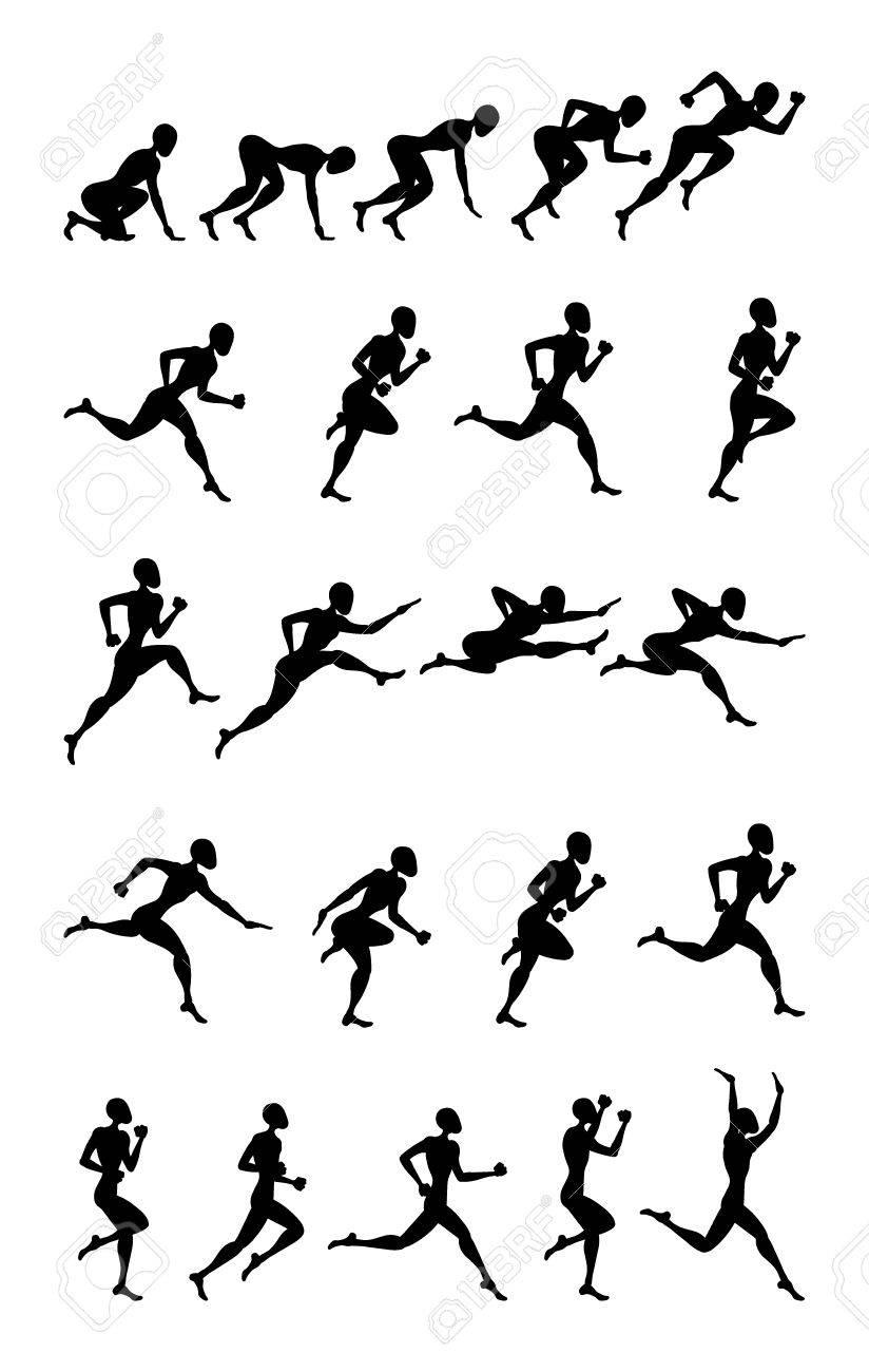 hight resolution of sport black silhouette light athletics running people white background stock vector 60623056