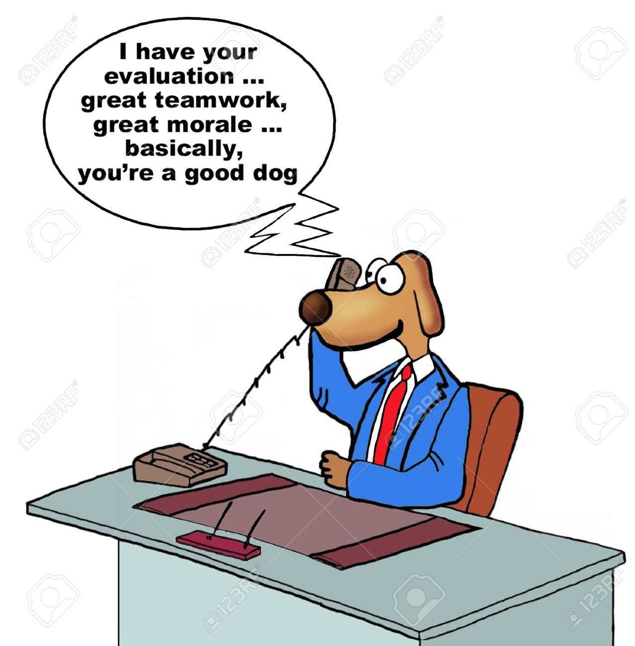 Cartoon Of Businessman Dog Receiving Excellent Performance Review ...