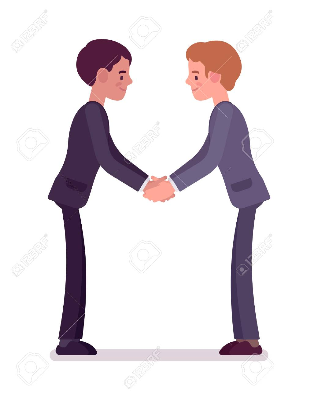 Business Partners Handshaking With Both Hands. Men In Formal ...