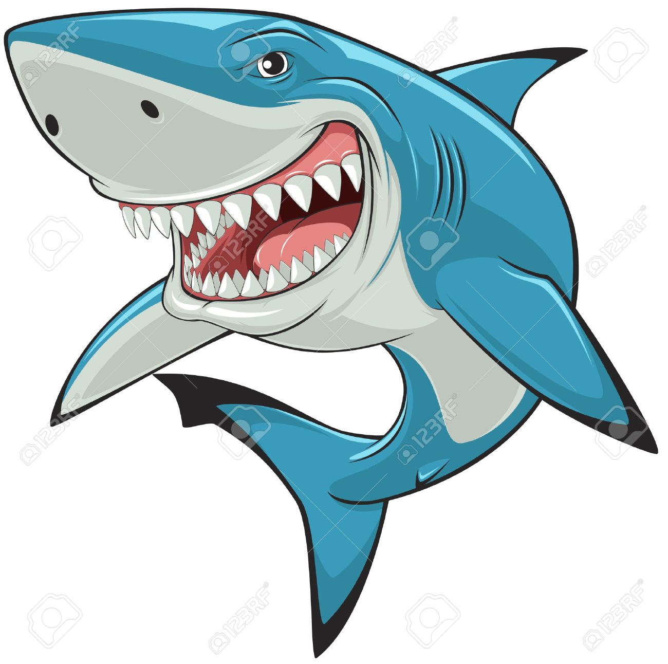 hight resolution of illustration toothy white shark