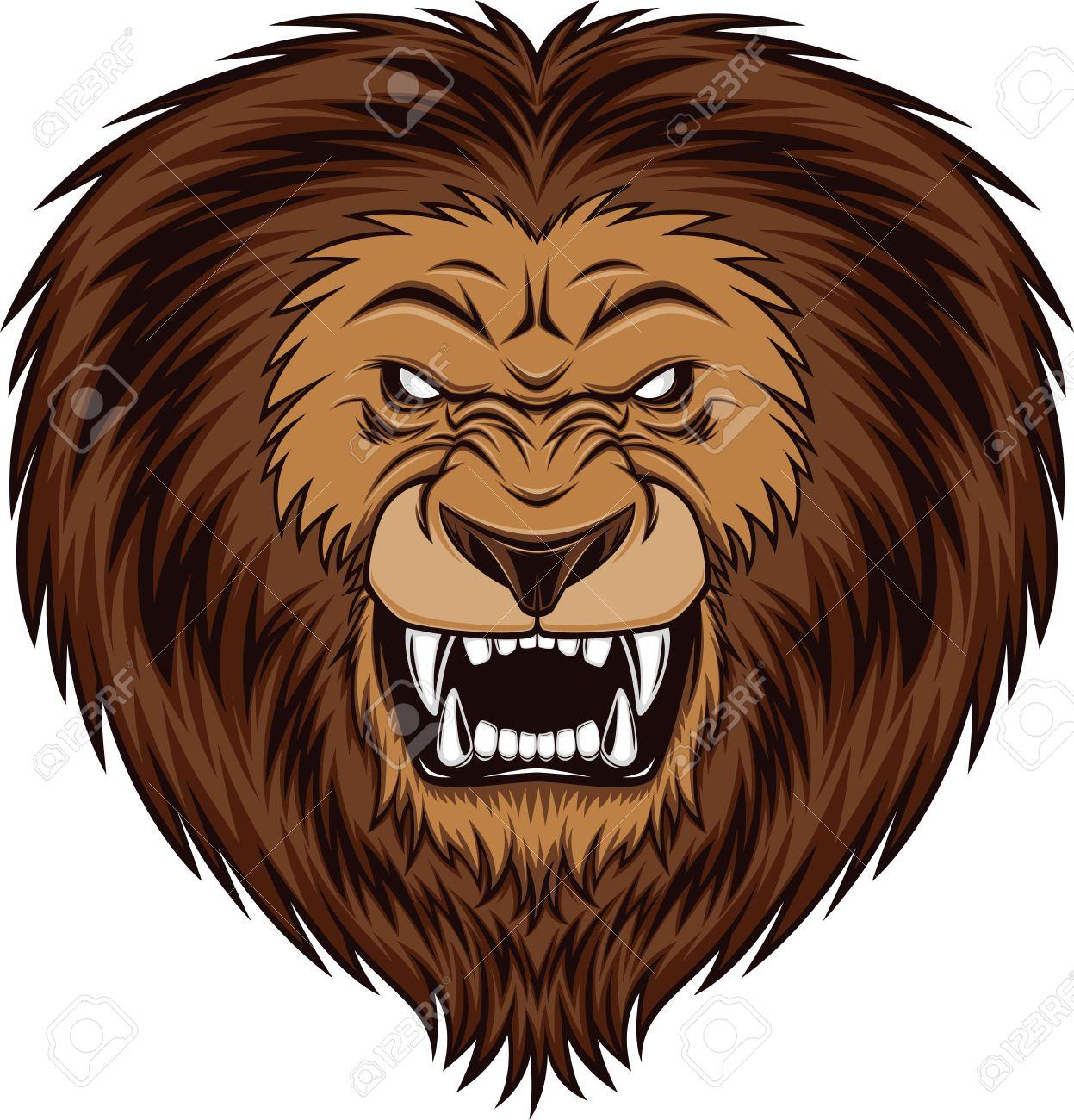 fierce lion head vector
