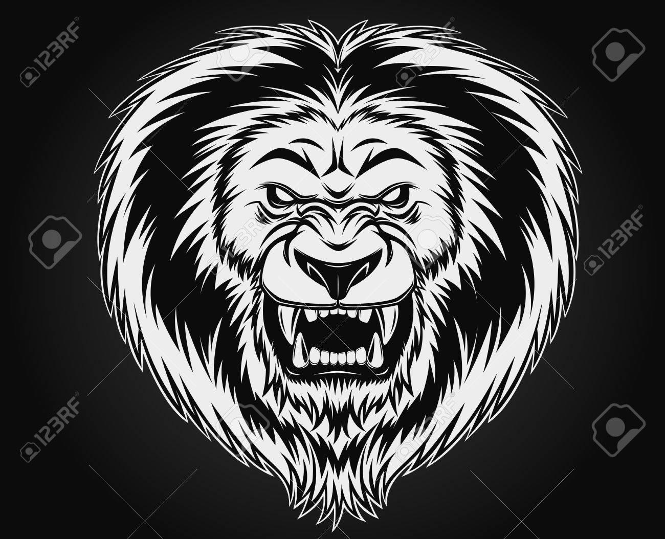 fierce lion head illustration