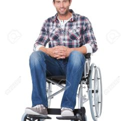 Wheelchair Man American Girl High Chair Portrait Of Middle Age In Isolated On White Stock Photo 17738897