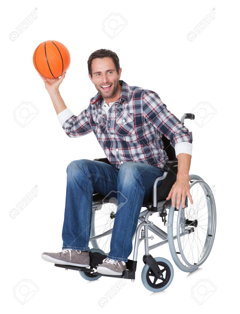 wheelchair man selig eames chair in with basketball isolated on white stock photo 18065308