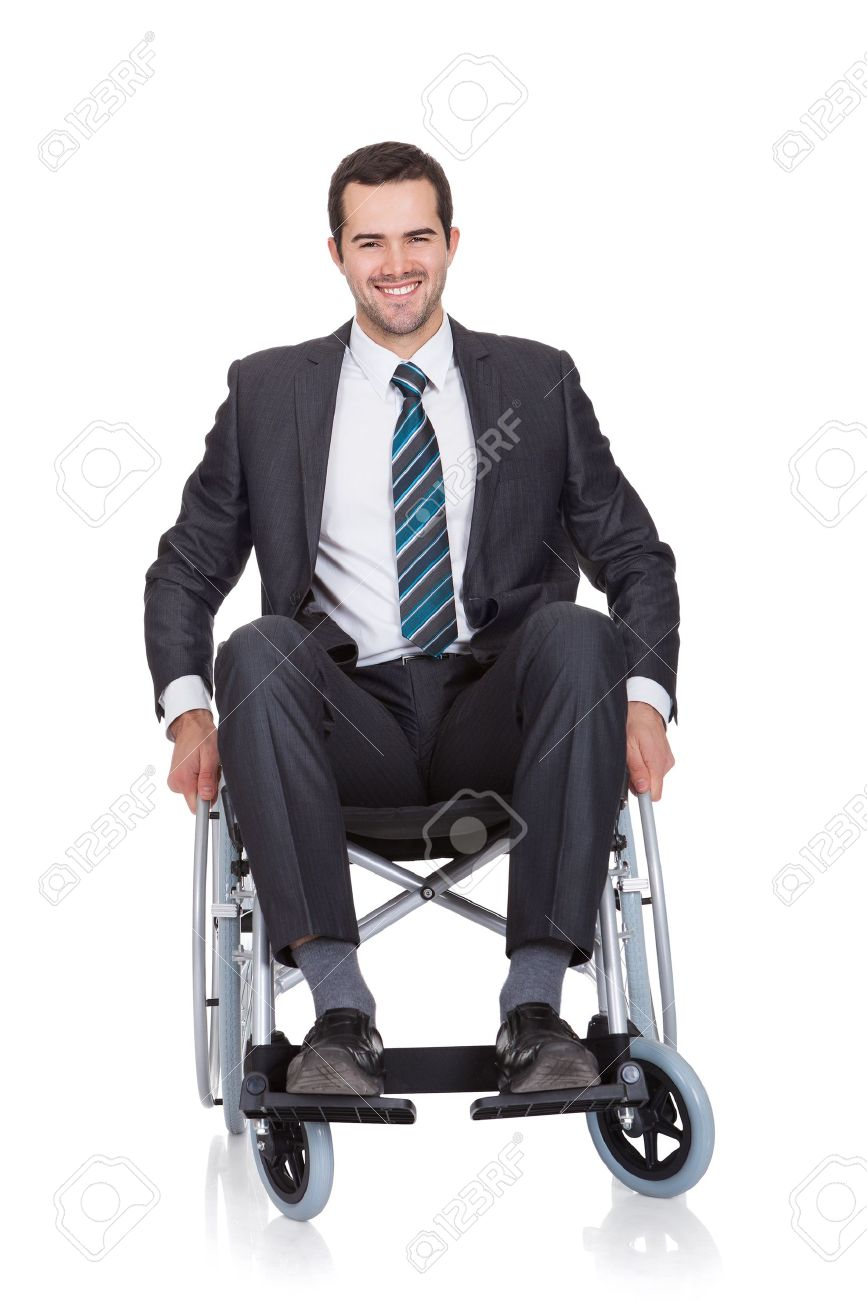 wheelchair man hanging chair parts young businessman in isolated on white stock photo