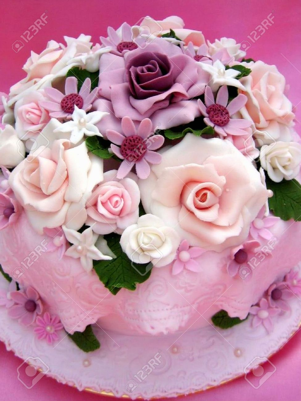 Flower Colorful Birthday Cake Stock Photo Picture And Royalty Free