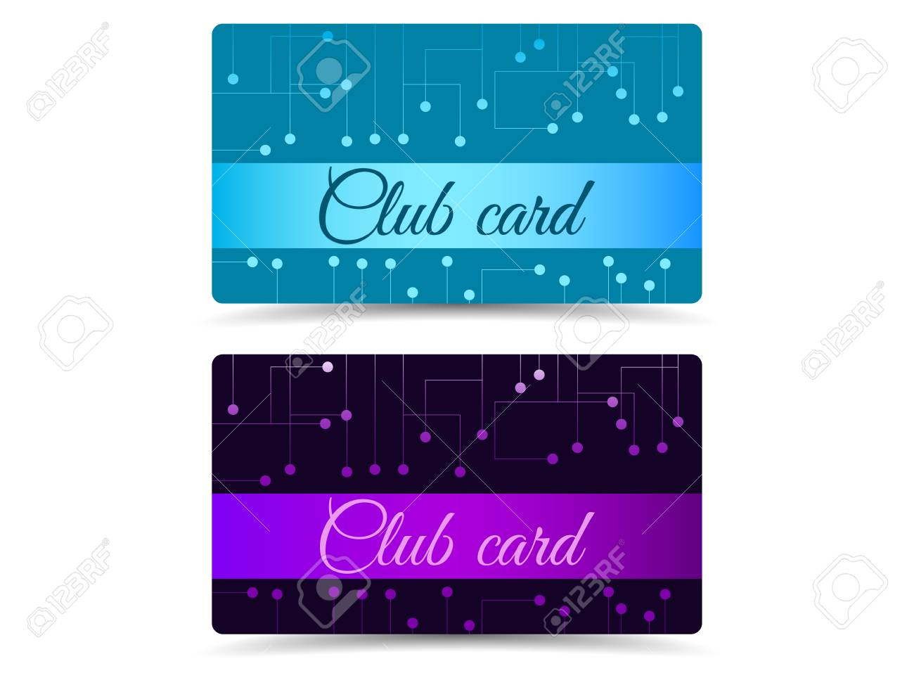 hight resolution of club card club plastic card set club cards gift cards stock vector