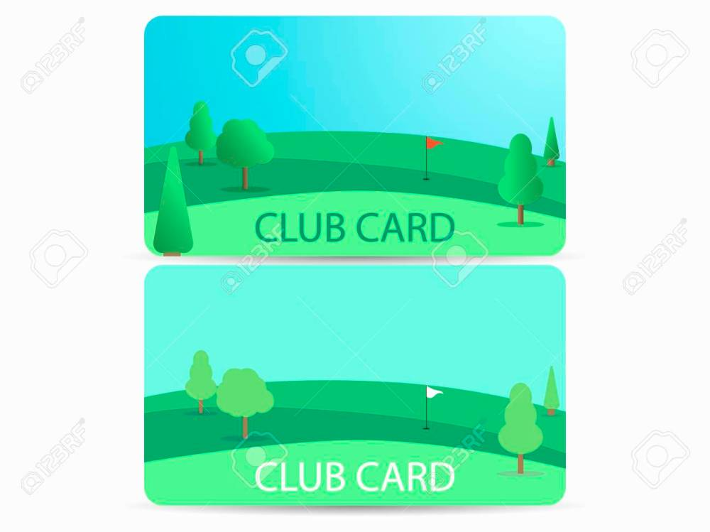 medium resolution of club card with a golf course membership in a golf club field with a