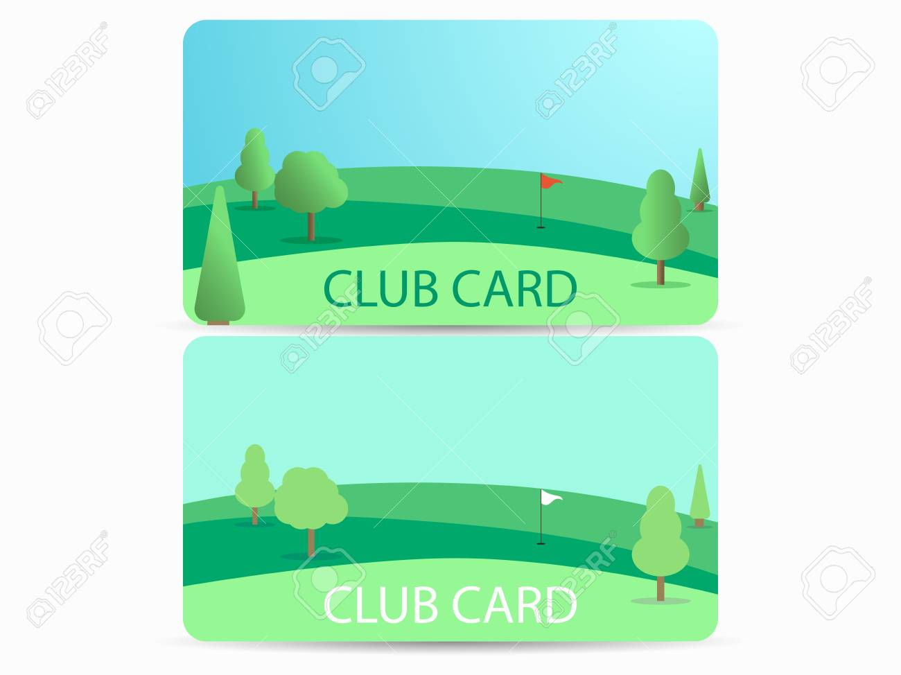 hight resolution of club card with a golf course membership in a golf club field with a