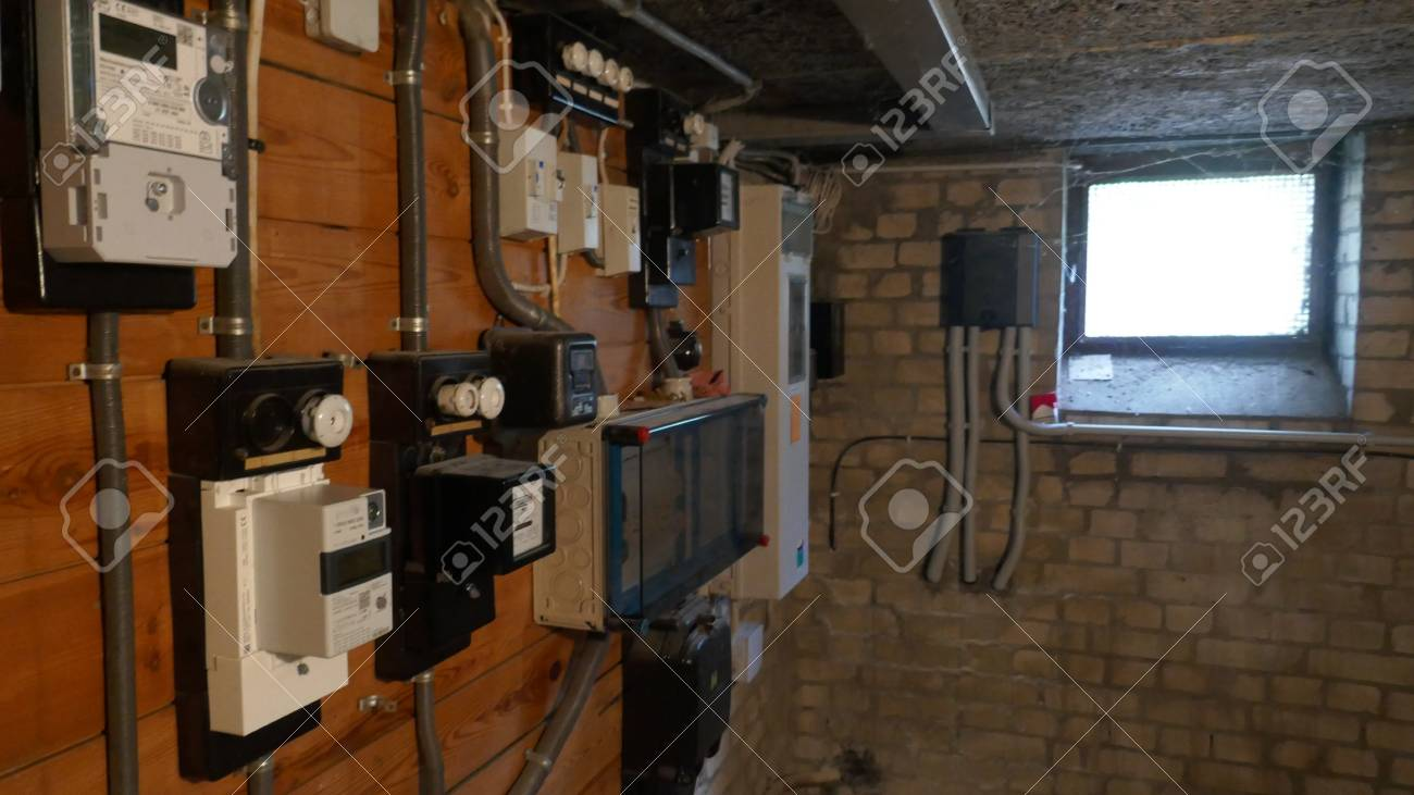 hight resolution of electrical fuse boxes and power lines in the basement of an oldelectrical fuse boxes and power