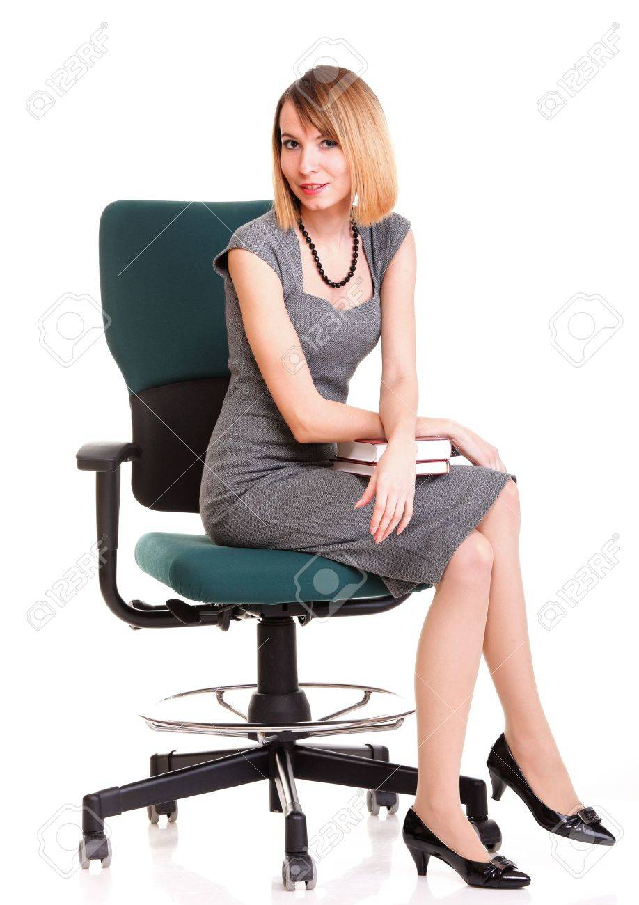 the chair dental parts description full length of young business woman sitting on over white background relaxing stock photo