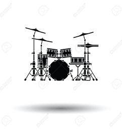 drum set icon white background with shadow design vector illustration stock vector  [ 1300 x 1300 Pixel ]