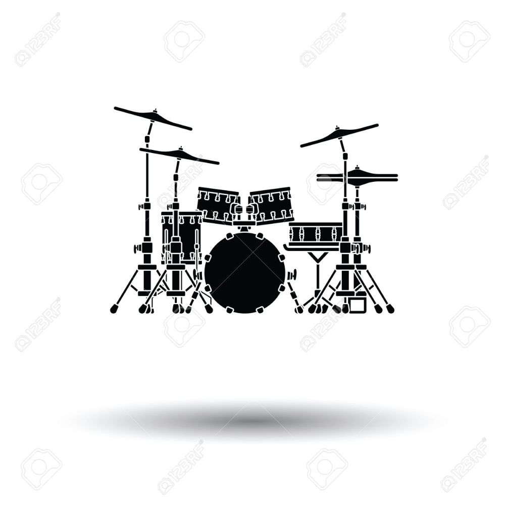 medium resolution of drum set icon white background with shadow design vector illustration stock vector