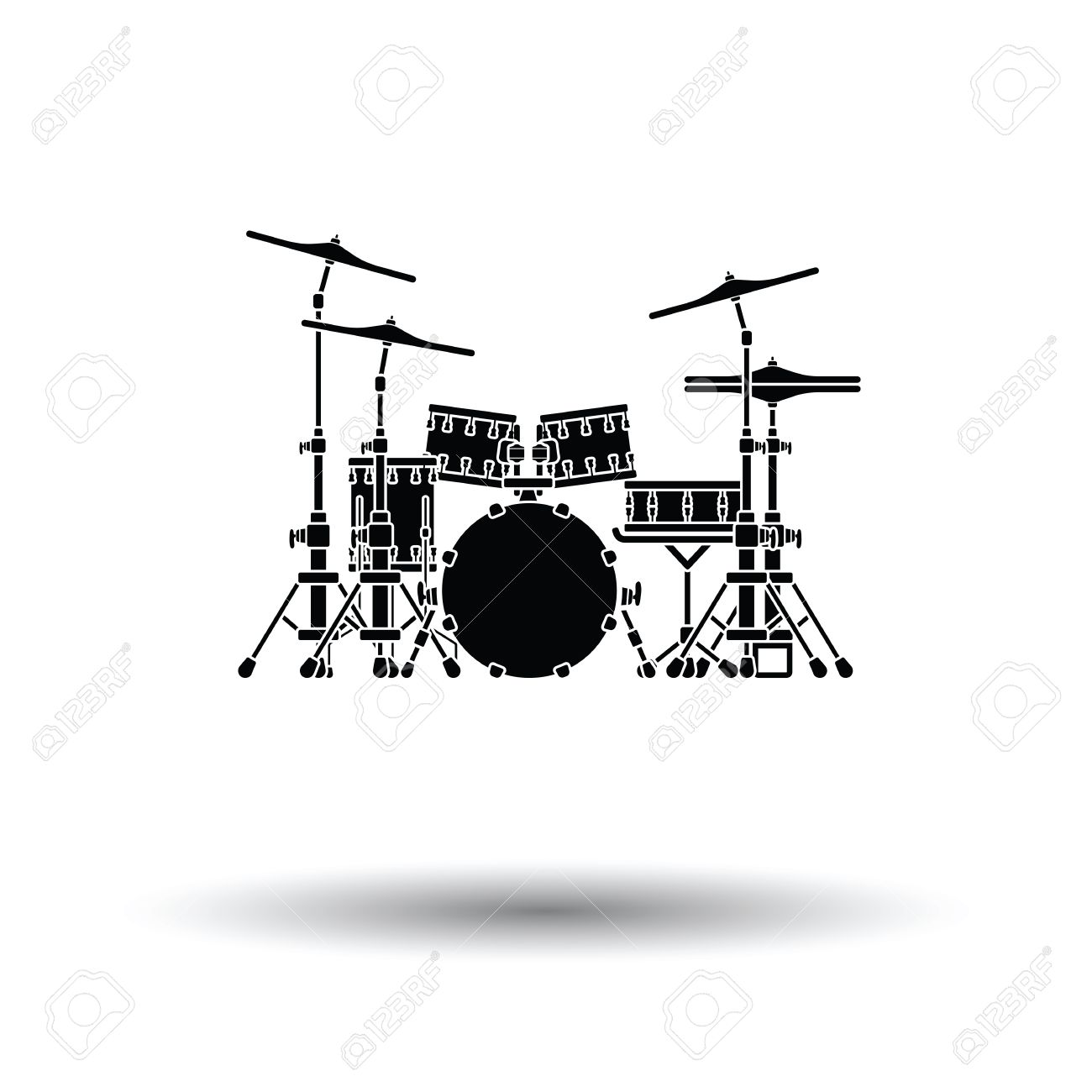 hight resolution of drum set icon white background with shadow design vector illustration stock vector