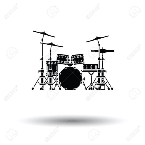 small resolution of drum set icon white background with shadow design vector illustration stock vector