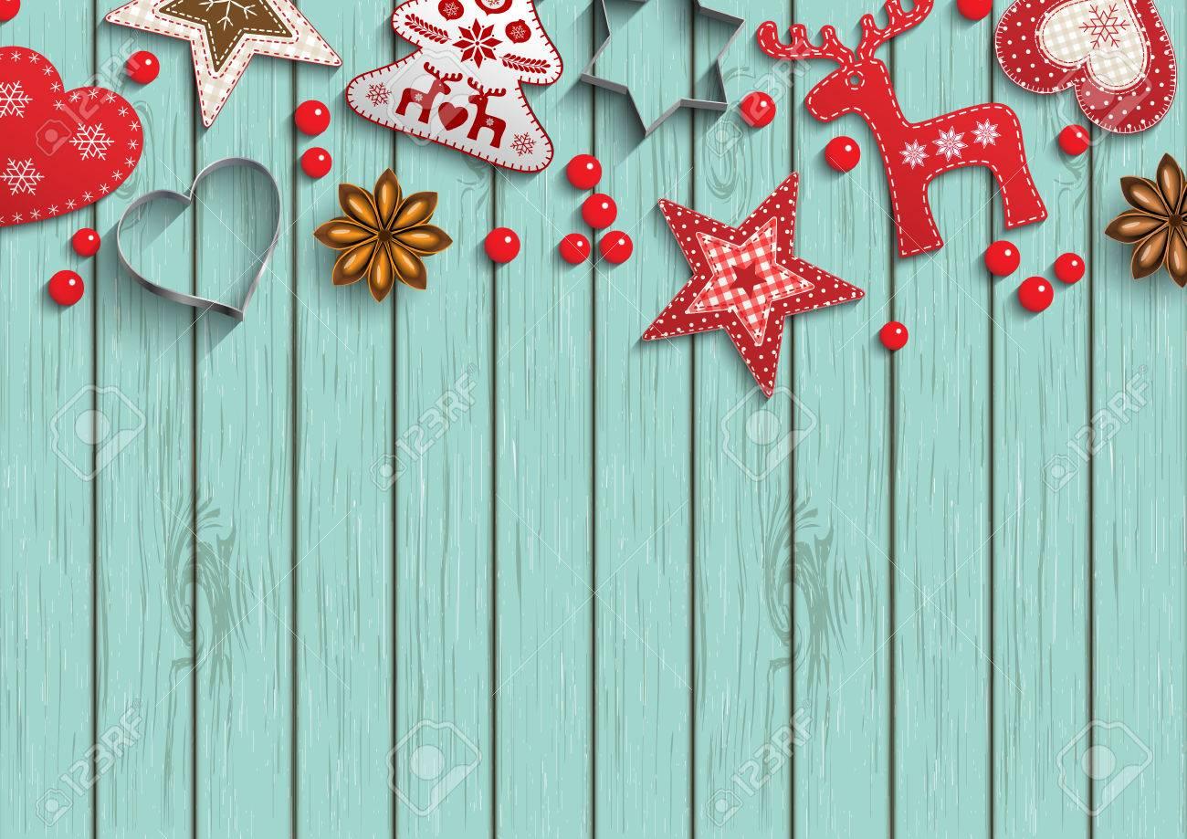 fond de noel petit style scandinave decorations rouges couche sur fond de bois bleu inspire par le style laique plat illustration vectorielle