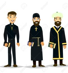 a catholic priest orthodox priest and a muslim imam vector illustration in a flat [ 1300 x 1277 Pixel ]