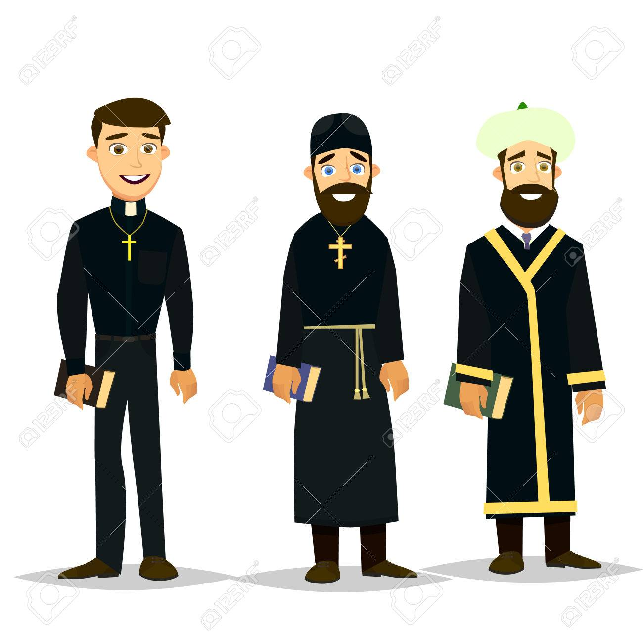 hight resolution of a catholic priest orthodox priest and a muslim imam vector illustration in a flat