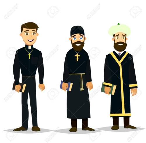 small resolution of a catholic priest orthodox priest and a muslim imam vector illustration in a flat