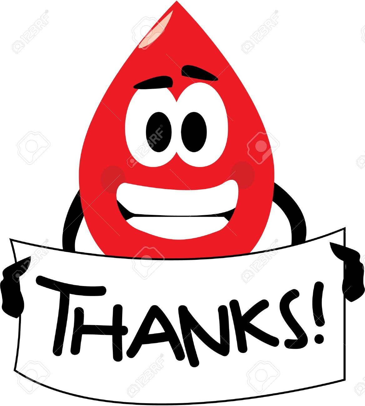 hight resolution of vector vector cartoon clip art of a blood drop thanking you for donating blood no gradients used isolated on white