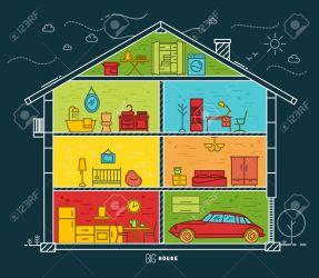 Silueta De La Casa Grande Con Habitaciones Con Mobiliario De Estilo Plano De Dibujo Con Líneas De Color Sobre Fondo Azul Oscuro Ilustraciones Vectoriales Clip Art Vectorizado Libre De Derechos Image 59360602
