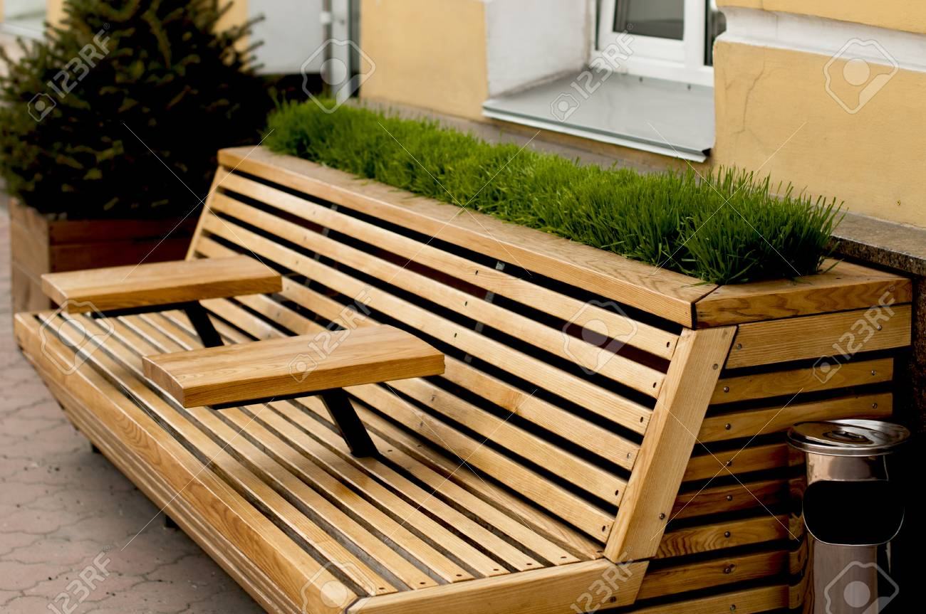 modern wooden bench with