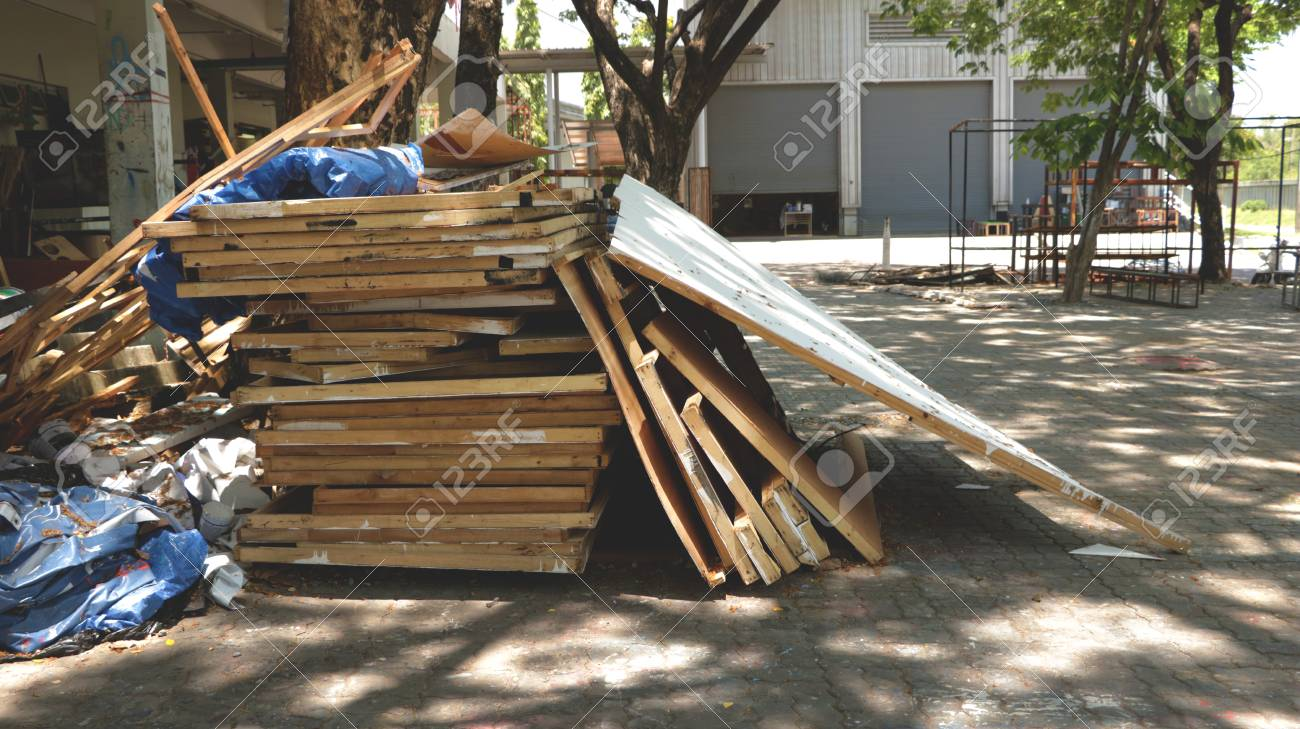 Cluttered Pile Of Woods In Outdoor Garage Junk Yard Abandoned Stock Photo Picture And Royalty Free Image Image 101741126