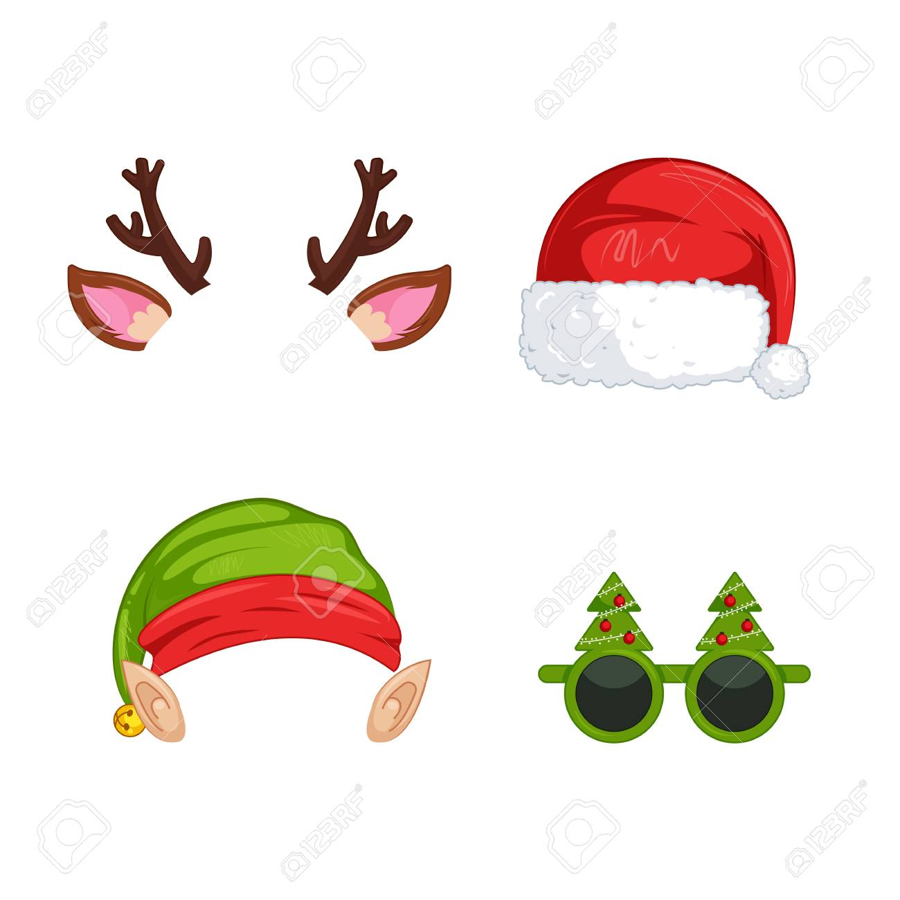 hight resolution of christmas clipart santa claus and elf hat vector cartoon