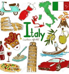 fun colorful sketch collection of italy icons countries alphabet illustration [ 1300 x 1300 Pixel ]